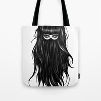 girl Tote Bags featuring It Girl by Ruben Ireland