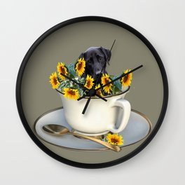 Labrador retriever with coffee cup of sunflowers Wall Clock