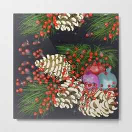 pine cones branches berries and ornaments Metal Print