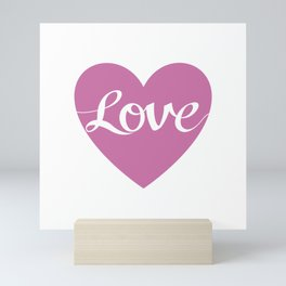 Love Script Pink Heart Design Mini Art Print
