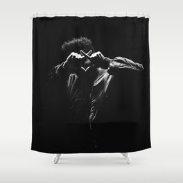 The.Weeknd Portrait black and white Shower Curtain