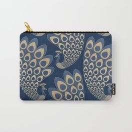 Blue and Gold Art Deco Peakock Carry-All Pouch