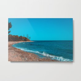 Vintage colored picture of bay at greece Metal Print