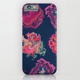 Liquid colorful shapes trendy pattern with navy background iPhone Case
