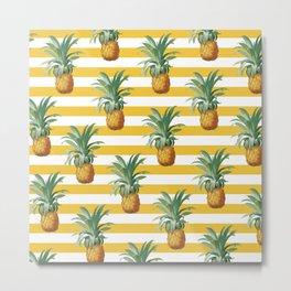 Pineapples Yellow Stripes Chic Beach Metal Print