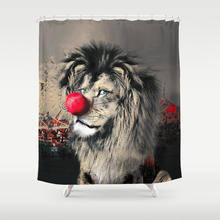 Circus Lion Clown Shower Curtain