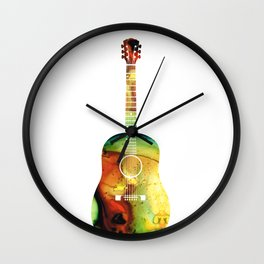 Acoustic Guitar - Colorful Abstract Musical Instrument Wall Clock