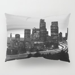 Seattle Skyline Sunset City - Black and White Pillow Sham