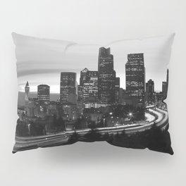 Seattle Skyline Sunset City - Black and White Pillow Sham