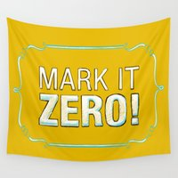 lebowski Wall Tapestries featuring BIG LEBOWSKI- Walter Sobchak- Mark it zero! by Michelle Eatough