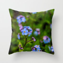 Forget-me-nots In The Rain Throw Pillow