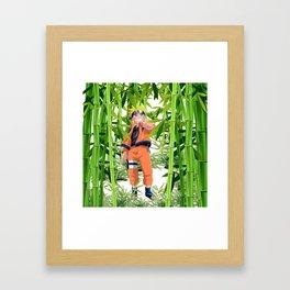 Hero anime in the bamboo forest Framed Art Print
