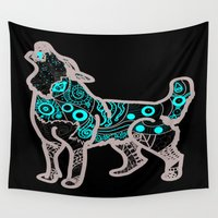 henna Wall Tapestries featuring Husky's Henna by Meg Gerena