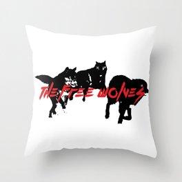 Running Wolves [White] Throw Pillow