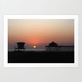 Winter Sunset At Huntington Beach, California Art Print