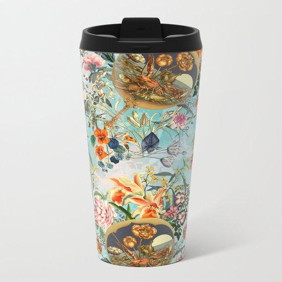 Floral and Lobster Metal Travel Mug