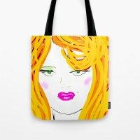 blondie Tote Bags featuring Blondie by Tina Vaughn