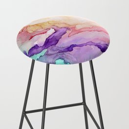 Color My World Watercolor Abstract Painting Bar Stool