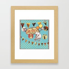 vintage circus collage Framed Art Print