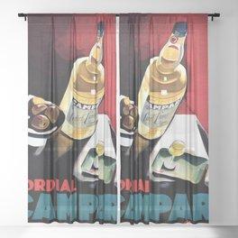 Vintage Campari Italian Cordial Advertisement Wall Art Sheer Curtain