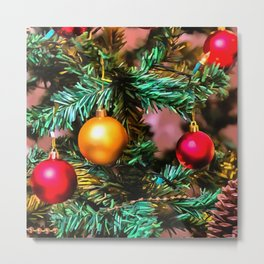 Christmas Tree With Fairy Lights and Ornaments Metal Print