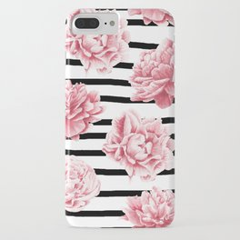 Simply Drawn Stripes and Roses iPhone Case