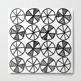 Cogs and Wheels Black and White Metal Print