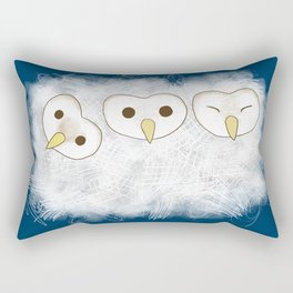 Three fluffy baby owls Rectangular Pillow