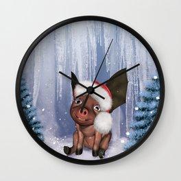 Christmas, cute little piglet Wall Clock