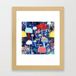 Blue Mushrooms - Zu hause Marine blue Abstract Art Framed Art Print