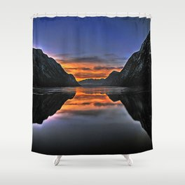 """AbouT fiord """"Multi Gini"""" Shower Curtain"""