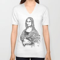 mona lisa V-neck T-shirts featuring Mona Lisa by April Gann