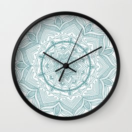 Teal Flower Mandala Wall Clock
