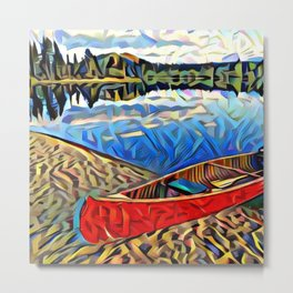 Red Canoe on Lake Tahoe Metal Print