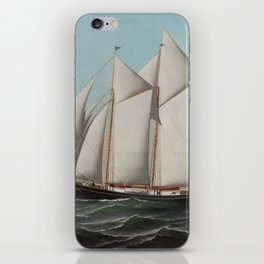 Vintage Schooner Sailboat Illustration (1887) iPhone Skin