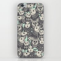 sweater iPhone & iPod Skins featuring sweater mice mint by Sharon Turner