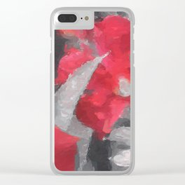 Partial Color Red Lilies Clear iPhone Case