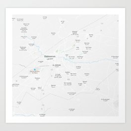 Minimalist Modern Map of Damascus, Syria 1 Art Print