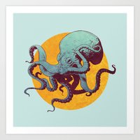 octopus Art Prints featuring Octopus by Calavera