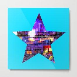 Mirrored Purple Disco Ball Star Metal Print