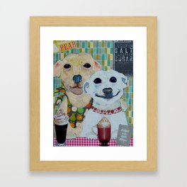 What a pear! Two dogs with fancy coffee. Framed Art Print