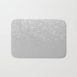 Trendy modern silver ombre grey color block Bath Mat