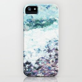 Waves lap at the shore - painting - art gift - abstract iPhone Case