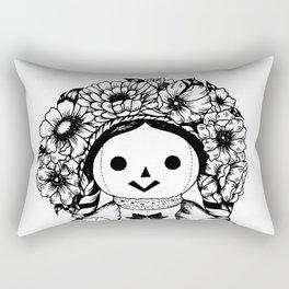 Floral Mexican Doll Rectangular Pillow