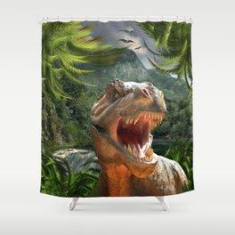 T Rex in Prehistoric Landscape Shower Curtain