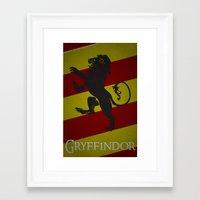 gryffindor Framed Art Prints featuring Gryffindor by Fanboy's Canvas
