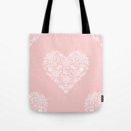 Millennial Pink Blush Rose Quartz Hearts Lace Flowers Pattern Tote Bag