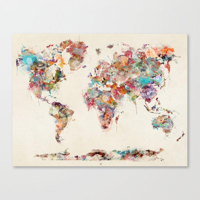 world map watercolor deux Canvas Print