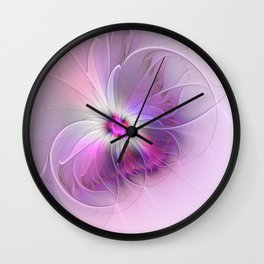 Abstract Flower With Pink And Purple Fractal Wall Clock