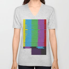 color tv bar#glitch#effect Unisex V-Neck